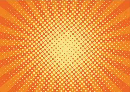 Orange, yelow rays and dots pop art background. retro vector illustration drawing for design Stock Photo