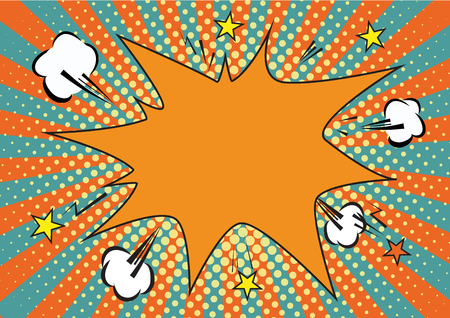 Orange, yelow rays and dots pop art background. clouds and speech star bubble for text. retro vector illustration for design.
