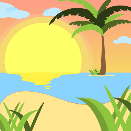Summer background, of beach at sunset with waves, clouds and palm tree on the horizont. seaside view poster. vector illustration. Flat design.