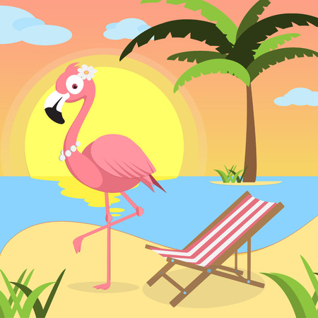 Summer background with Pink flamingo and red white lounger, of beach at sunset with waves, clouds and palm tree on the horizont. seaside view poster. vector illustration. Flat design.