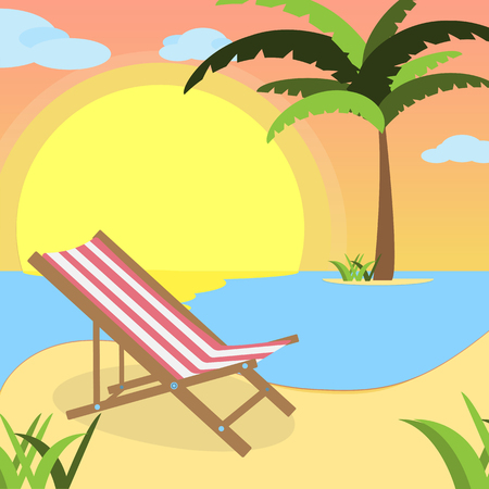 Summer background with Pink flamingo and red white lounger, of beach at sunset with waves, clouds and palm tree on the horizont. seaside view poster.  illustration. Flat design