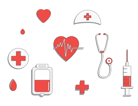 Medicine concept. donate blood and save life. Donation give love. ullustration sticker set. Pack of icons for design. World blood donor day. International holiday