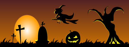 Happy halloween banner. Vector design illustration. Trick or treat.