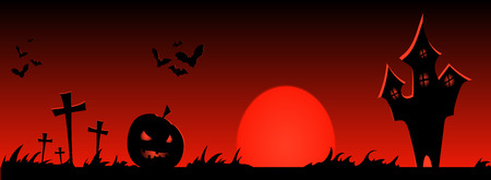 tombstones: Happy halloween banner. Vector design illustration. Trick or treat.