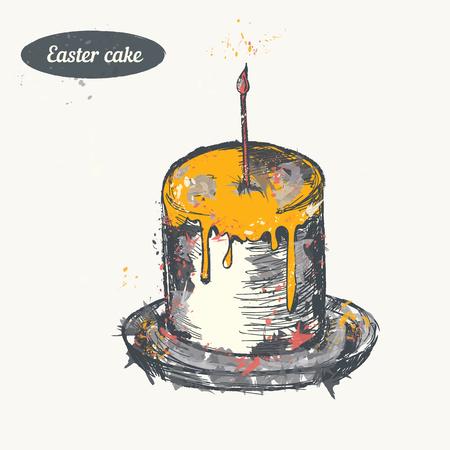 Hand drawn sketch. Easter cake. Vector vintage illustration. Isolated object on light beige background. Menu design.