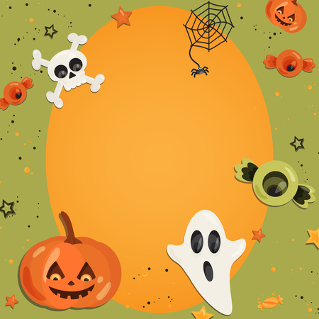 Vector Halloween Party Thin Invitation Card Template With Creepy ...