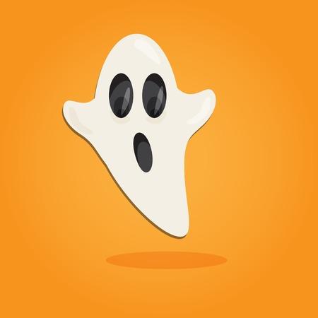 calendar design: Halloween cartoon art in flat style. Orange background, Cute ghost illustration.