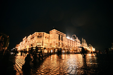 RUSSIA, MOSCOW, OCTOBER 13, 2017: Night scene of GUM department store. Editorial image in retro style Redakční