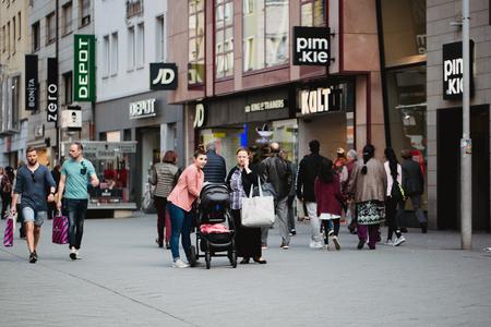 Nurnberg, Germany - April 5, 2018: People walking on the street in Old Town Altstadt .