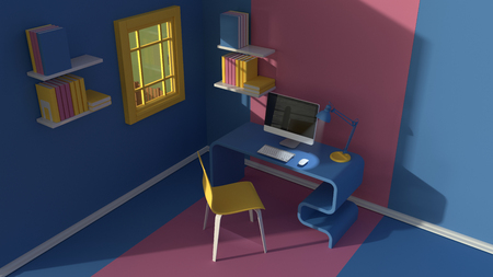 3D render.Isometric view of interior in minimalistic modern cartoon style.Room in evening sunlight. with chair, table, lamp, window and bookshelf.Colorful yellow,blue, pink mock up 3d Scene rendering. Reklamní fotografie