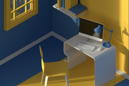 3D render.Isometric view of interior in minimalistic modern cartoon style. Room in evening sunlight. with chair, table, lamp, window and bookshelf. Colorful yellow and blue mock up 3d Scene rendering.