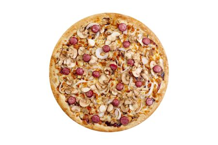 Pizza isolated on white background.Hot fast food with cheese, bavarian chiken, onion. Food Image for menu card, web design, site, shop or delivery. High quality retouch and isolation. Stock fotó