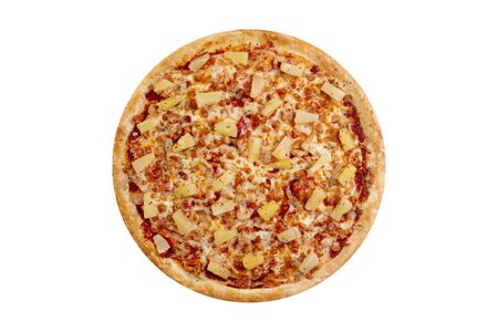 Sweet Pizza isolated on white background.Hot fast food with pineapple, chicken and cheese. Food Image for menu card, web design, site, shop or delivery. High quality retouch and isolation.