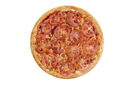Pizza isolated on white background.Hot fast food with cheese, ham and mushrooms. Food Image for menu card, web design, site, shop or delivery. High quality retouch and isolation. Stock fotó