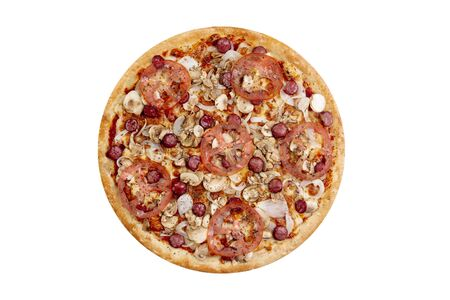 Pizza isolated on white background.Hot fast food with cheese, ham and mushrooms. Food Image for menu card, web design, site, shop or delivery. High quality retouch and isolation. Stock Photo