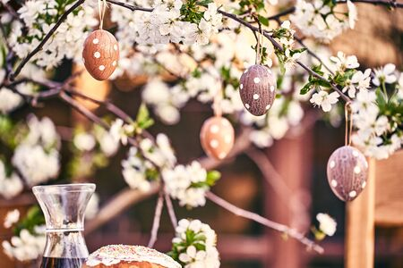 Easter eggs on bokeh colorful background. Holiday concept Archivio Fotografico