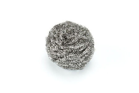scouring: steel scouring pad on a white background Stock Photo