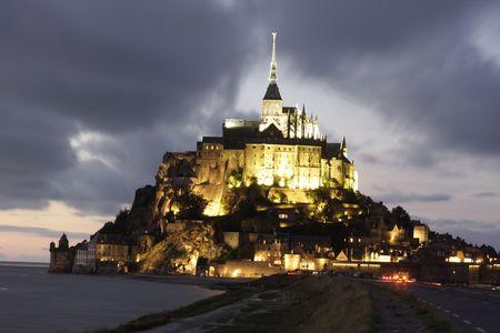 mont saint michel: a view of the mont saint michel, by night