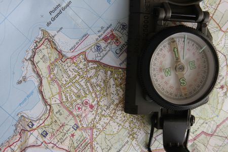 topographical: compass and map of brittany
