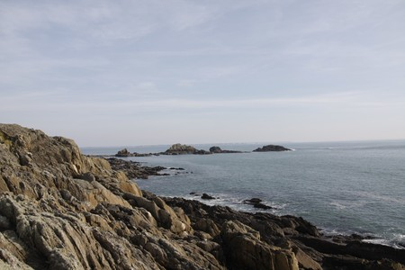 savage: rocks in savage coastline of brittany Stock Photo