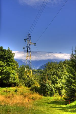 powerline: landscape in mountain with powerline Stock Photo