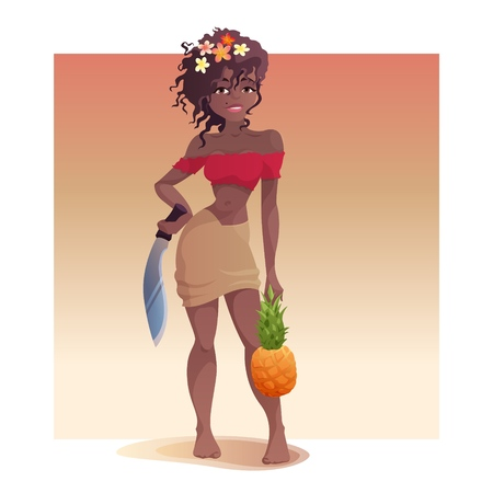 Girl with a pineapple and a machete is standing and looking at you. Illustration