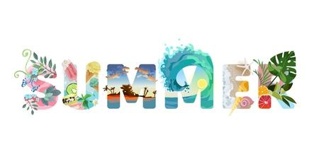 Illustrierte Schriftzug Sommer. Grün, Obst, Strand und Meer, helle und köstliche Sommerfarben. Hallo Sommer! Ferienvektortext. Vektorgrafik