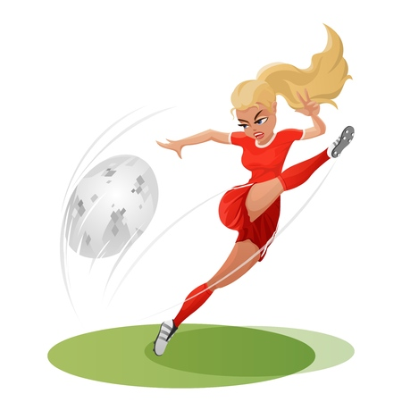 Soccer girl hitting the ball hard. Vector llustration. Beautiful womens football