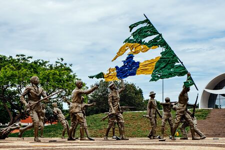 The monument of 18 do Forte and Coluna Prestes at the Sunflower Square in Palmas, State of Tocantins, Brazil Фото со стока