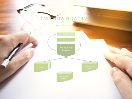Household income cash flow flowchart on workspace background. Saving concept Stock Photo