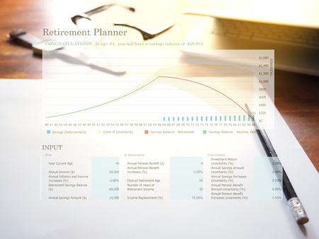 retirement planning graph on workplace background retirement
