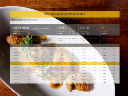 The picture of calorie amortization schedule on food background.