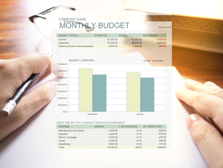 white sheet: The picture of monthly budget graph on workspace background. Financial management concept