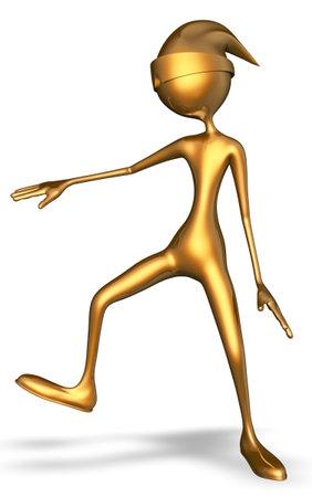 Golden Man Dancing 3d Character