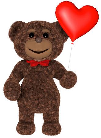 Teddy Bear Holds Heart 3D Render