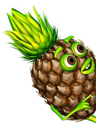 Peeps out Pineapple 3d Character Cartoon 3D Render