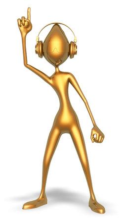 Golden Man Headphones Dance 3d Character Cartoon 3D Render Stok Fotoğraf
