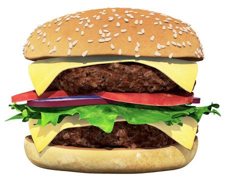 Hamburger 3D Render