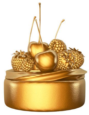 Cake Fruits Golden 3D Render