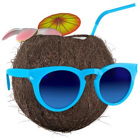 Tropical Coconut Nut Glasses 3D Render Stok Fotoğraf