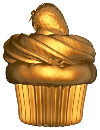 Cupcake Strawberry Cream Golden 3D Render