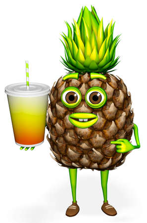 Pineapple Character Shows Drink 3d Character Cartoon 3D Render