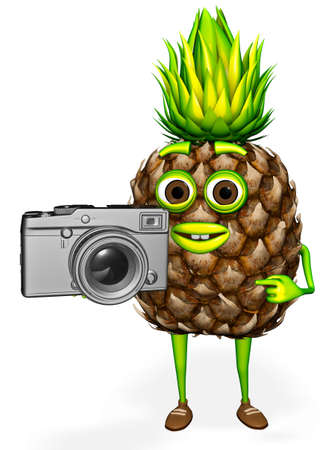 Pineapple Character Shows Photo Camera 3d Character Cartoon 3D Render