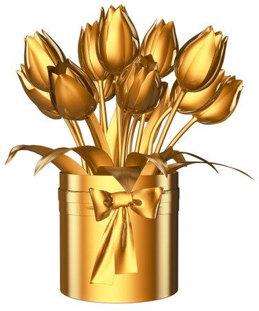 Tulip Bouquet Golden 3D Render
