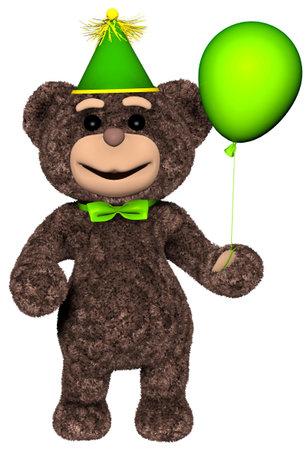 Teddy Bear Holds a Balloon 3D Render