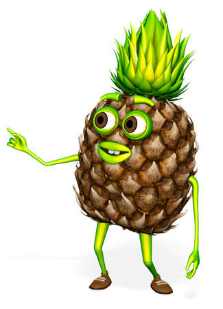 Shows Pineapple White background Cartoon 3D Render