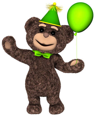 Teddy Bear Holds a Balloon White background 3D Render