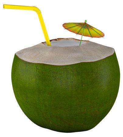 Coconut Green Walnut Umbrella White background 3D Render