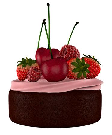 Cupcake Chocolate Fruit White background 3D Render