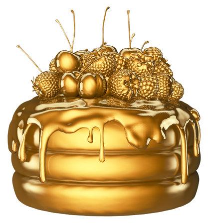 Cupcake Fruit Golden White background 3D Render